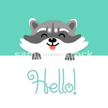 Cute raccoon tell you hello. Vector illustration.. Cute raccoon says hello to you