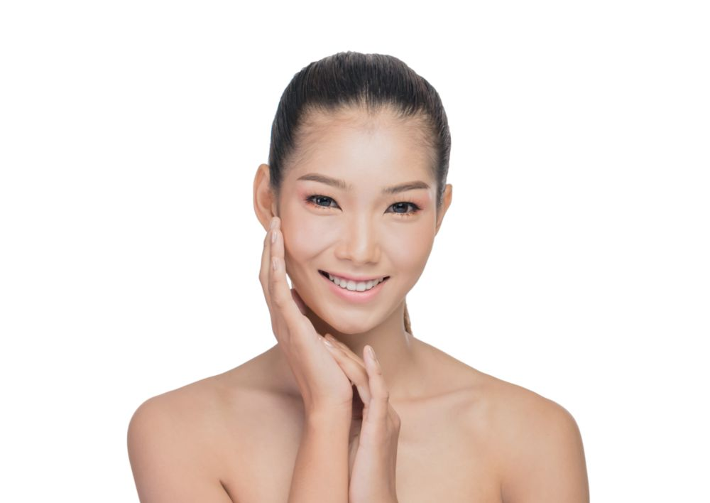 asian woman with beauty face. Front portrait of the asian woman with beauty face - isolated